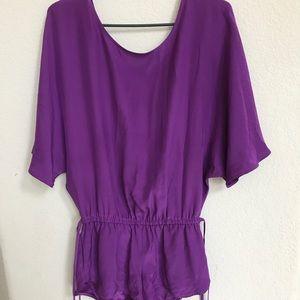 Haute Hippie Silk Purple Romper Open Back size S